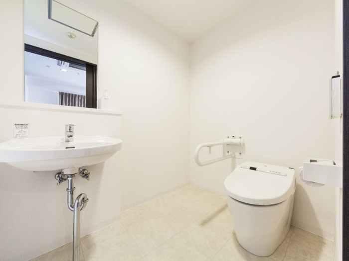 マイステイズ新浦安コンファレンスセンターのデラックスクイーン(バイアフリー対応ルーム)のトイレ