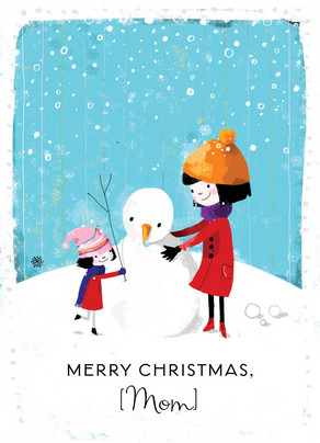 Mom and Daughter Snowman Christmas Card | Cardstore