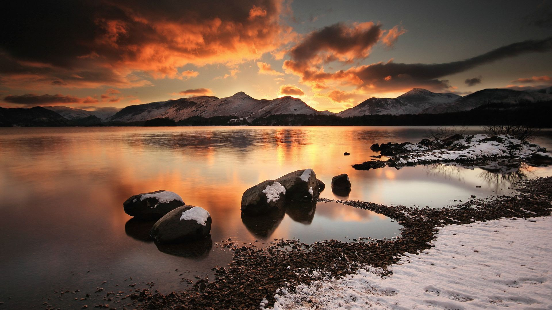The lake at sunset, mountain, rocks, andscape, sunset, lake, hd wallpaper. Mountain Lake Sunset Hd Wallpaper 1920x1080 Id 61155 Wallpapervortex Com