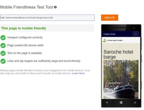 Bing Mobile friendly test