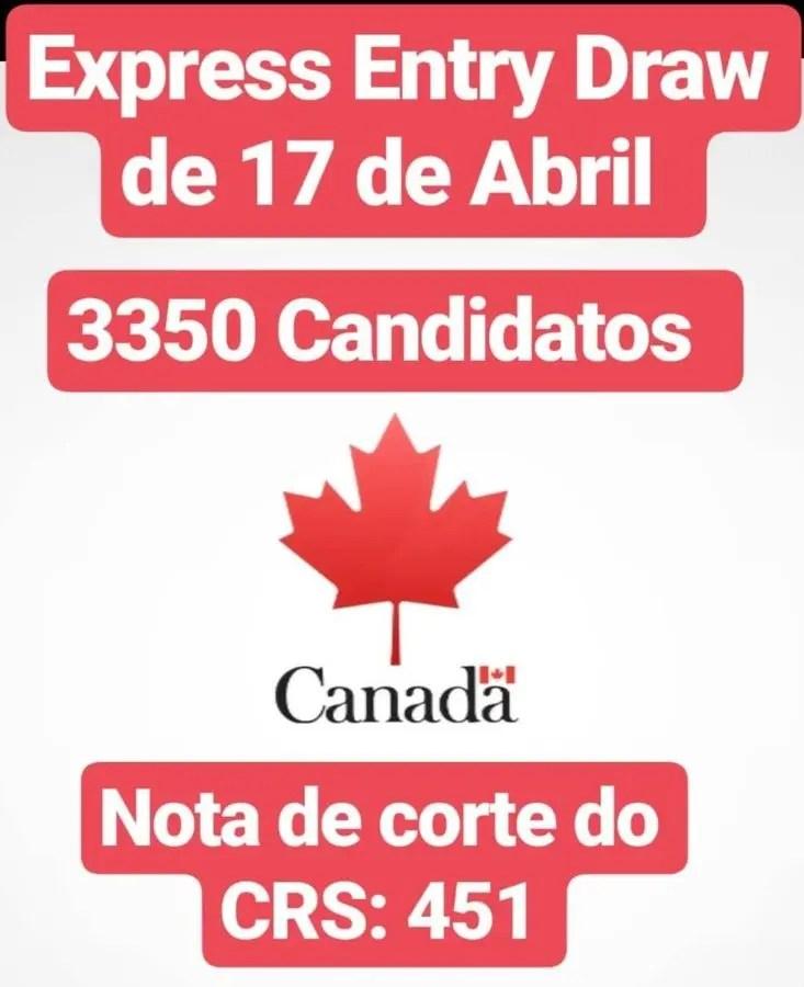 Express Entry Draw de 17 de Abril para imigrar para o Canada