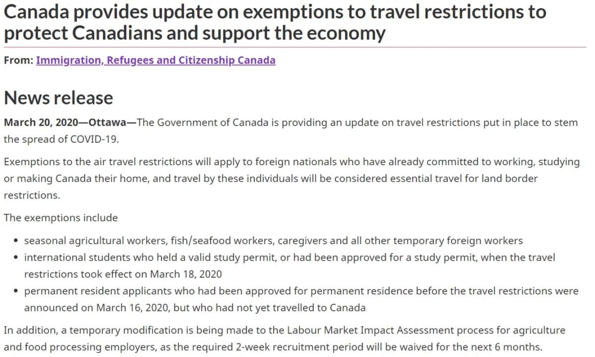 Exceções de quem pode entrar mesmo com fronteiras fechadas no Canadá