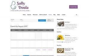 imi web design screenshots of sallydoula.com events calendar