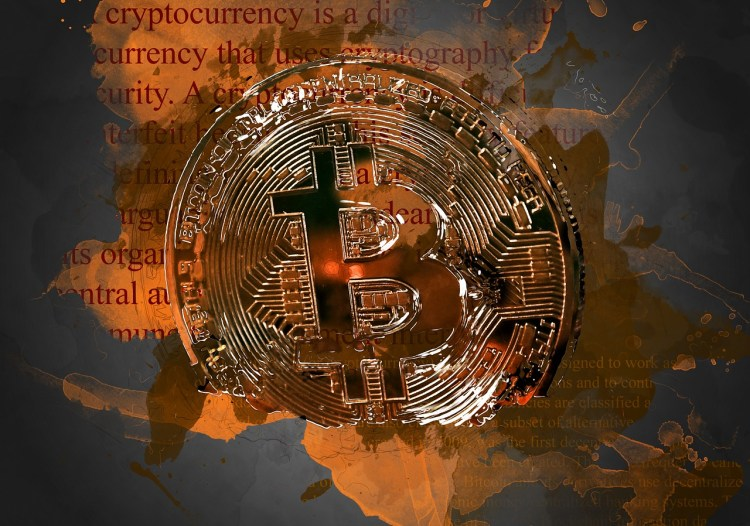 bitcoin image behind world map and text