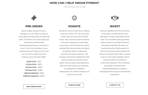 Crowdfunding website for Origin House of Fitness donate, presales, venture capitalis screenshot
