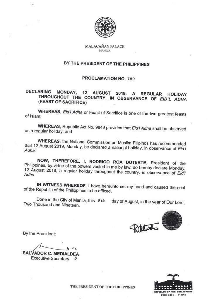 Malacañang declares Aug. 12 holiday in observance of Eid'l Adha