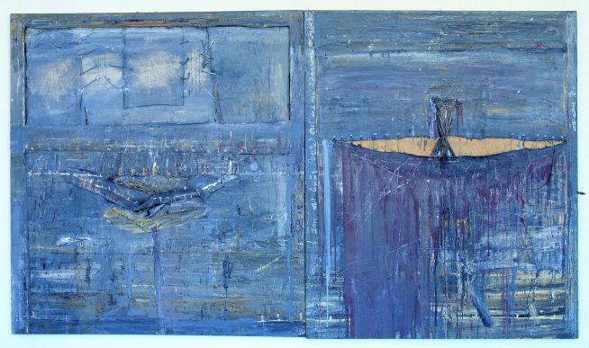 Patrick Graham, Ark of Dreaming, 1990, Mixed media on canvas, 180 x 316 cm, Collection Irish Museum of Modern Art, Purchase, 1991