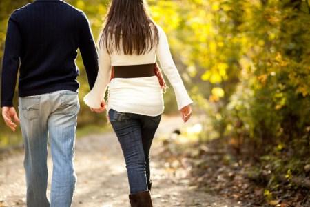 power walk couple walking path