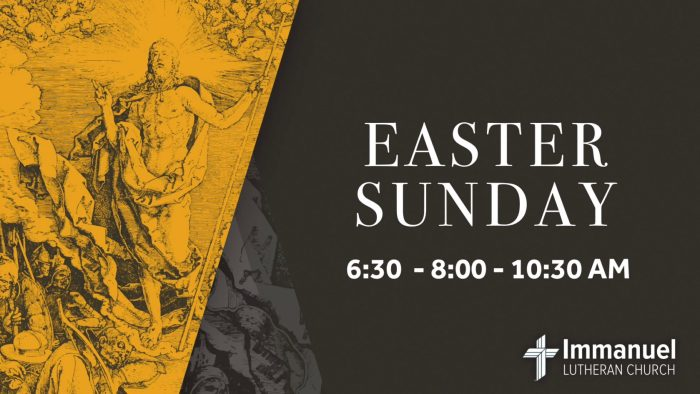 Easter Sunday Sunrise Service at 6:30am. Services with Holy Communion at 8:00 and 10:30am. Breakfast. Egg Hunt. Immanuel Lutheran Church, Joplin, Missouri.
