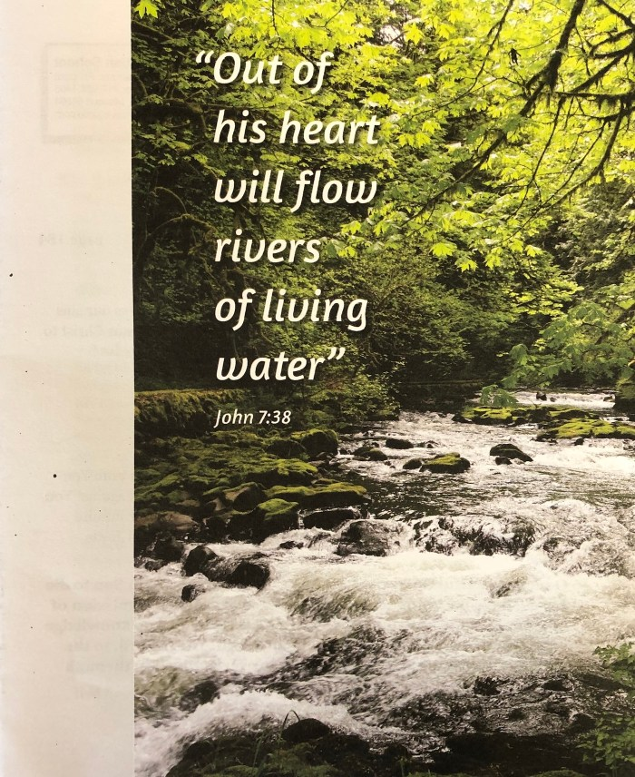 the day of pentecost bulletin cover. Immanuel Lutheran Church LCMS. Joplin, Missouri. Out of his heart will flow rivers of living water. John 7 38