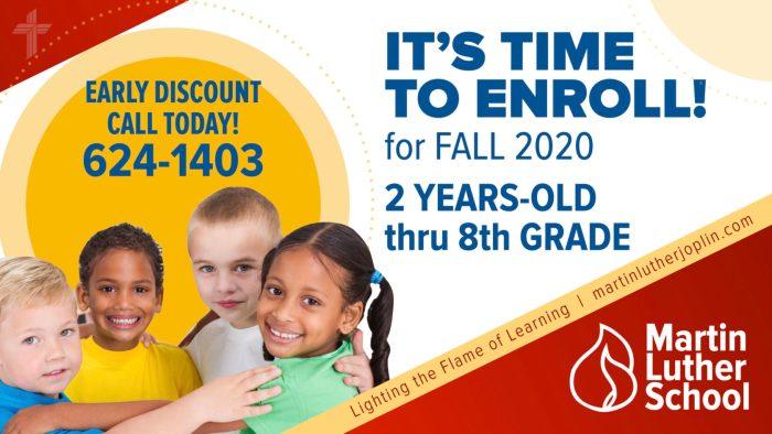 Martin Luther School Joplin Missouri. Enroll for Fall 2020. 2 years old through 8th grade. Call 417-624-1403.