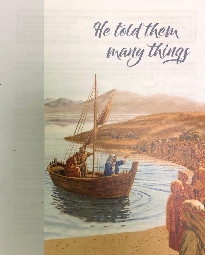 Sixth Sunday after Pentecost. bulletin cover. He told them many things. Immanuel Lutheran Church LCMS. Joplin, Missouri.