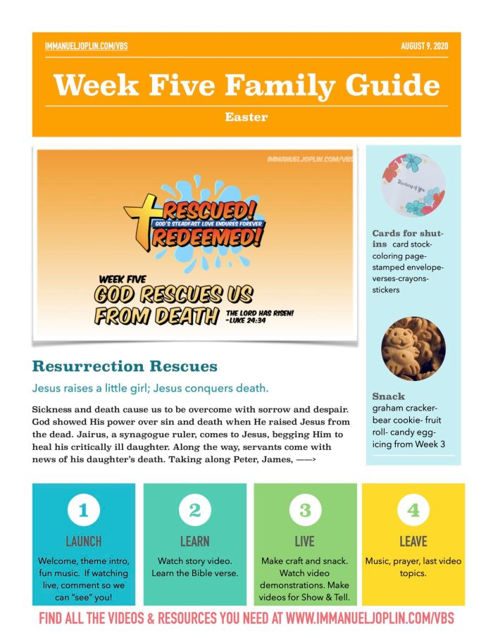 VBS At Home Week Five Family Guide. Jesus Rescues Us From Death.