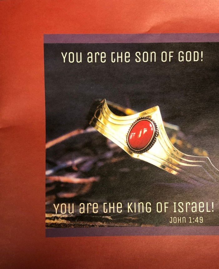 01.17.21 Epiphany 2 bulletin cover. You are the Son of God! You are the King of Israel! Immanuel Lutheran Church LCMS. Joplin Missouri.