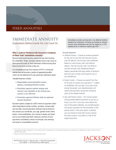 Immediate Tables Annuity