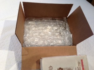 Box packed with bubble wrap.