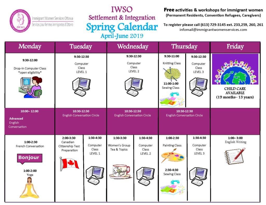 Activities Calendar April June