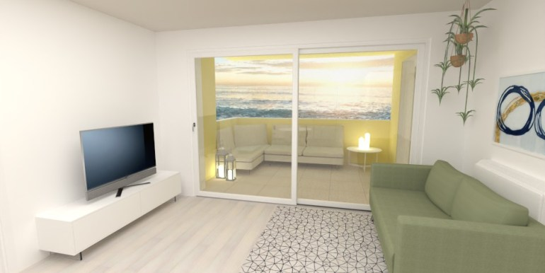 soggiorno zona tv e terrazza
