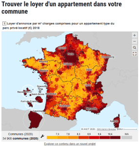 carte des loyers en France pour un appartement