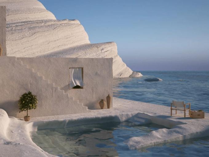 Les rendus représentant des maisons éthérées en bord de mer dans des paysages de rêve