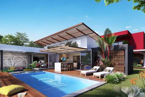 Entièrement modulables, ces villas construites sur des parcelles d'environ 1000 m2 s'ouvrent sur une piscine et un jardin privé