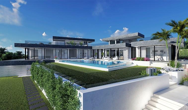 Villa sur plan de 4 chambres avec vue sur la mer sur la Costa del Sol Benahavis