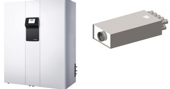 Das Integralsystem THZ 504 vereint alle wichtigen haustechnischen Funktionen: Heizen, Lüftung mit Wärmerückgewinnung, Warmwasserversorgung und Kühlung (links). Der neue Verteiler VTS-9 wird in unmittelbarer Nähe zum Lüftungsgerät eingebaut. Damit ist er am weitesten vom Auslass im Wohnraum entfernt und sorgt so für optimalen Schallschutz. (rechts)