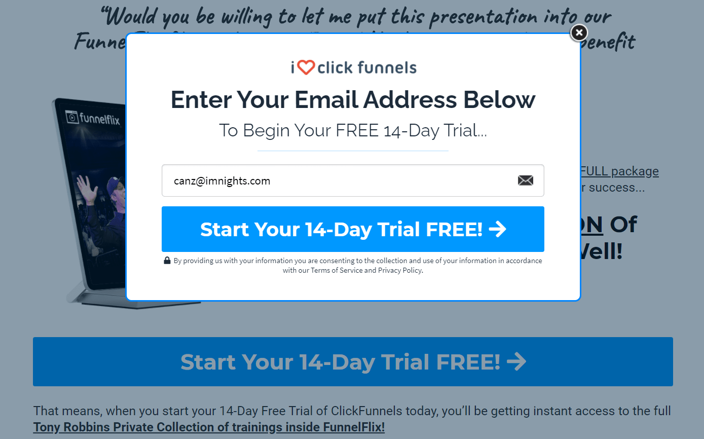 clickfunnels create free trial