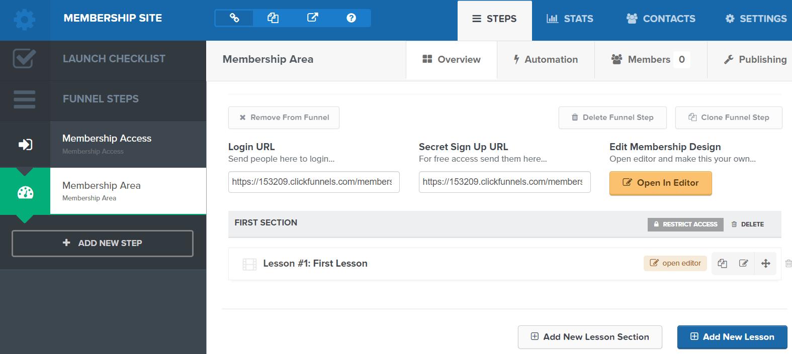clickfunnels membership site editing