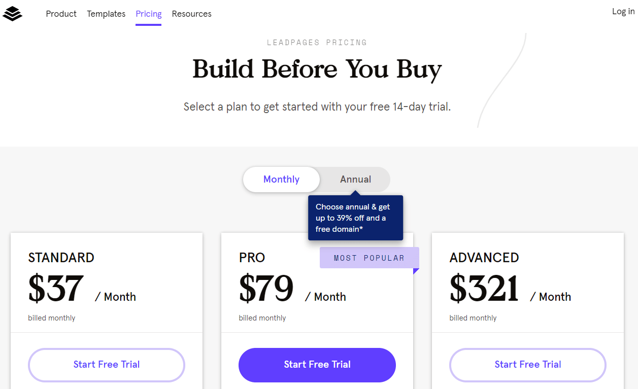 how much is leadpages after 14 day trial
