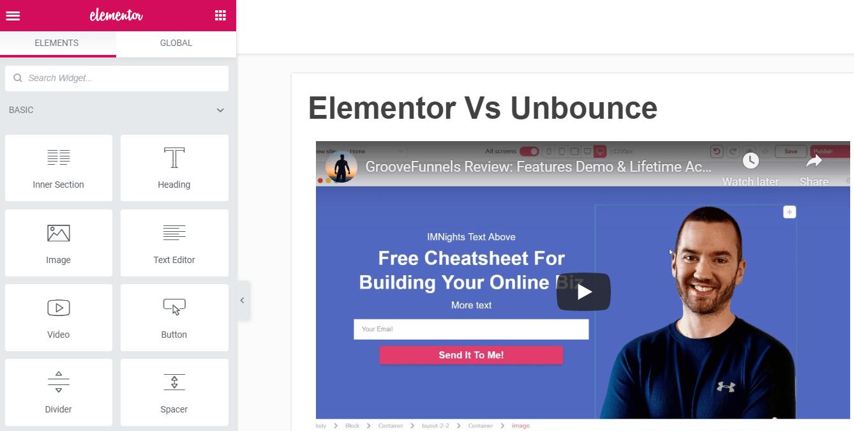 elementor vs unbounce