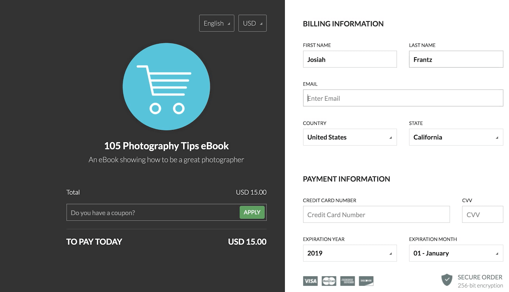 both capture pages and checkout system