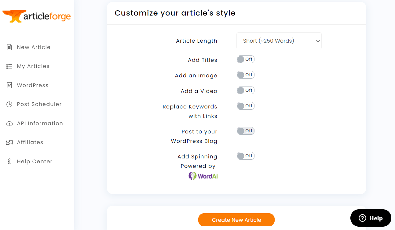 using article forge