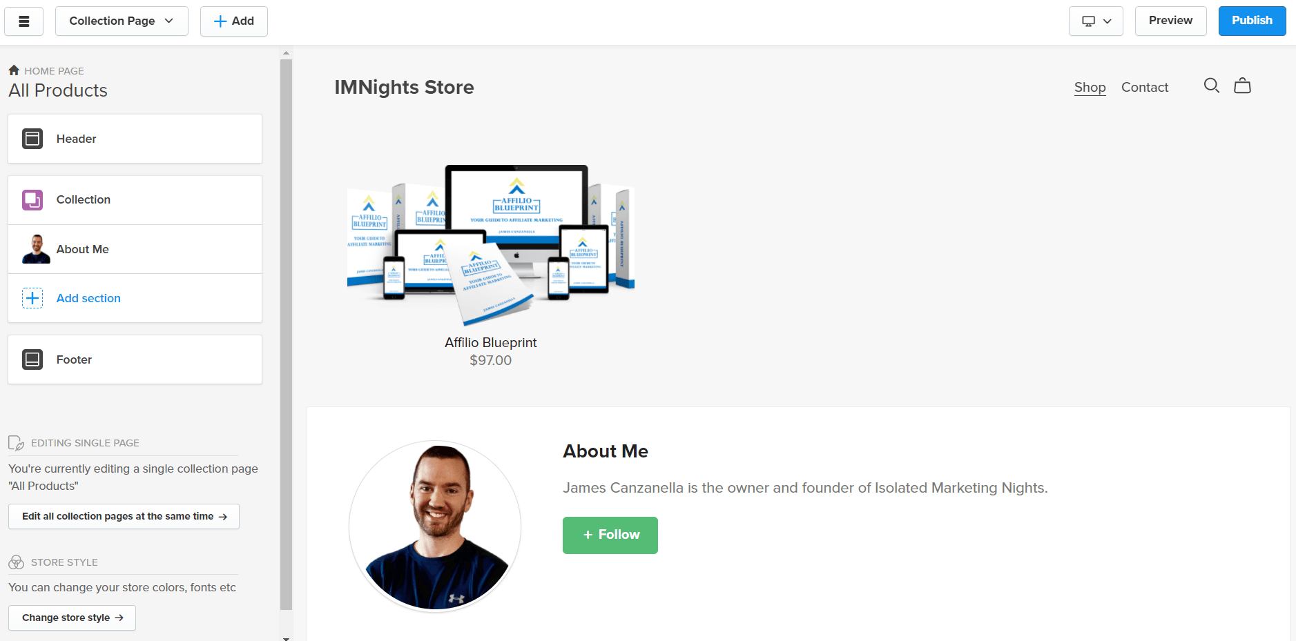 sell digital with the store builder