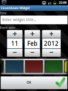Count down timer widget for android