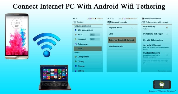 Connect internet from computer - laptop to android using WIFI tether
