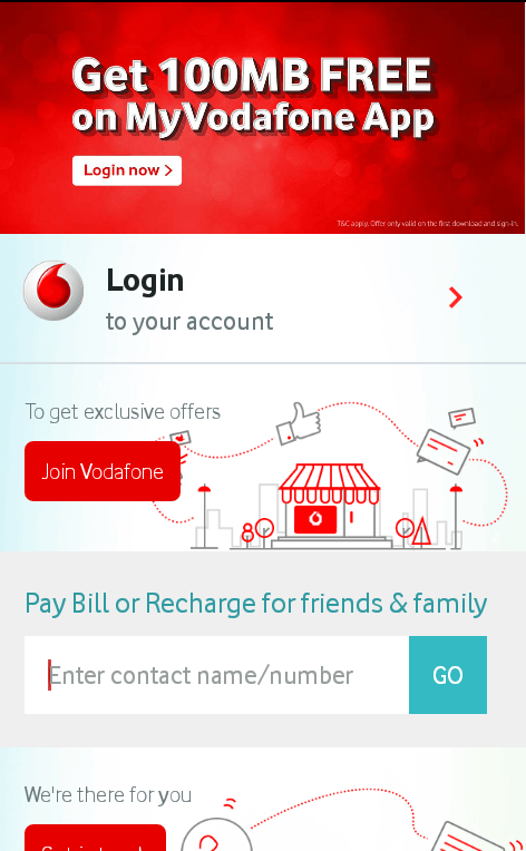 Get 100 MB Free Internet Data with My Vodafone App