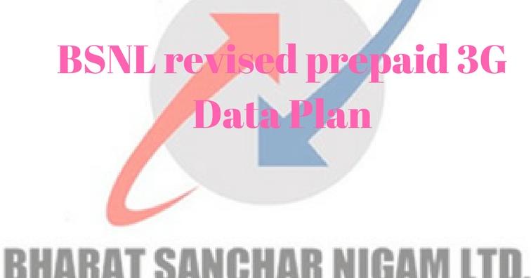 BSNL revised prepaid 3G Data Plan