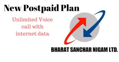 BSNL - New Postpaid Plan- Unlimited Voice call with internet data