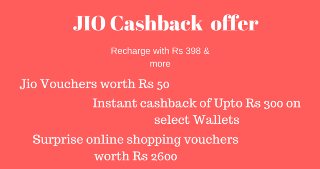 JIO Surprise cashback offer – Upto Rs 3300