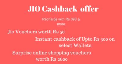 JIO Surprise cashback offer