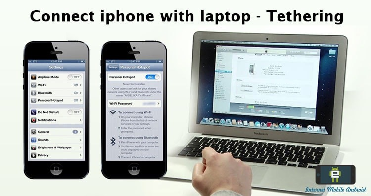 connect iPhone internet to laptop or PC - Tethering