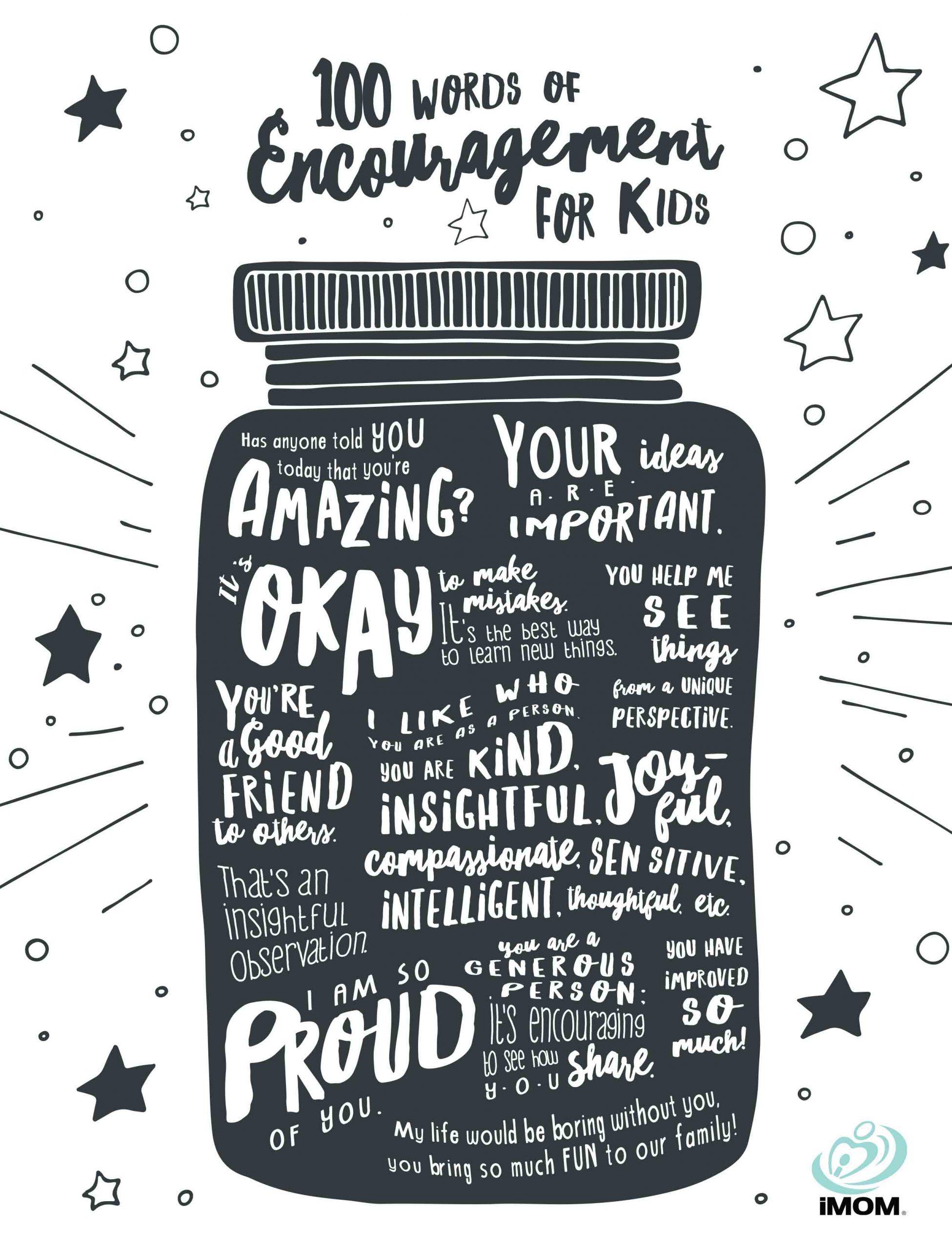 100 Words Of Encouragement For Kids