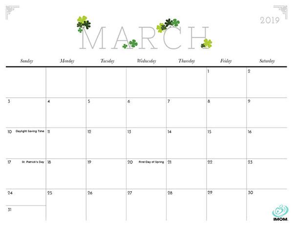 photograph regarding Imom Calendar called Lovely Printable Calendar 2019 Imom (3) -