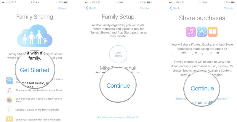 Enable Family Sharing: Tap Get Started, tap Continue, tap Continue