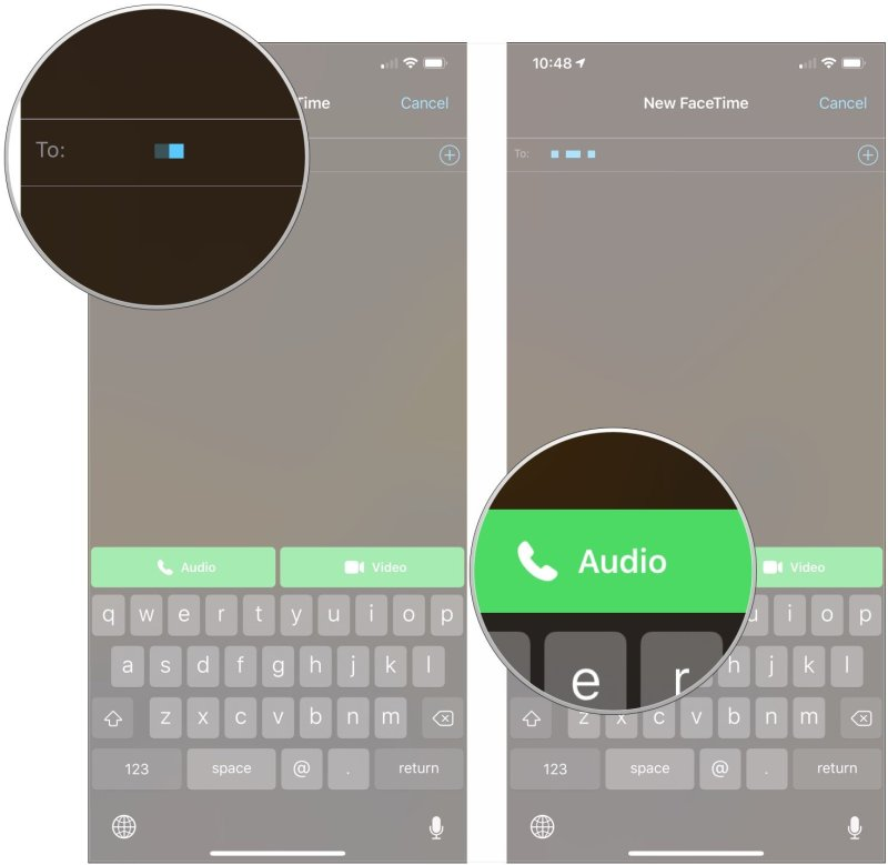 Make a FaceTime call on iPhone or iPad, showing how to enter additional names as desired, then tap Audio or Video