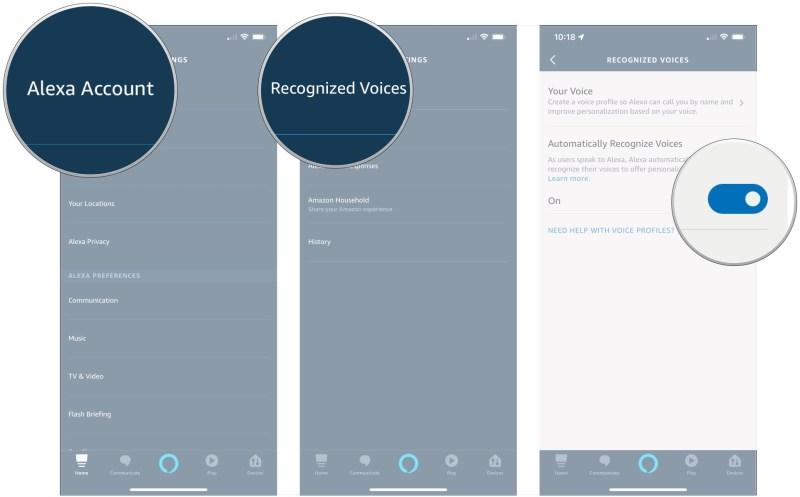 Nhấn Tài khoản Alexa, nhấn Giọng nói được nhận dạng, nhấn vào chuyển đổi