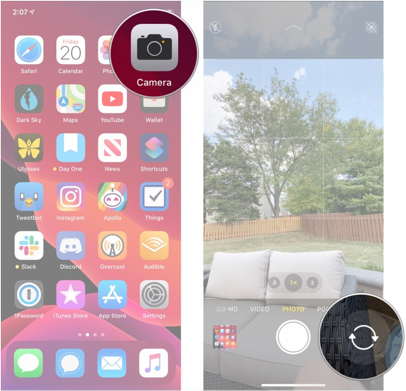 Open Camera, tap perspective flip button