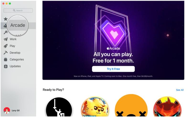 Sign up for Apple Arcade on Mac by showing steps: Click Arcade in the sidebar