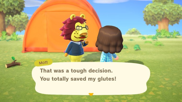 Animal Crossing New Horizons player talking to Lion villager